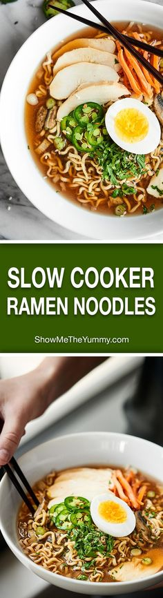Chicken Ramen Noodles made easier in the crockpot! These Slow Cooker Ramen Noodles may be simple in preparation, but they're completely packed with flavor! http://showmetheyummy.com #ramennoodles #slowcooker