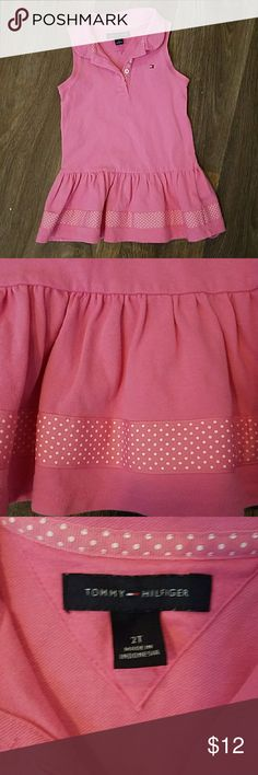 Pink Tennis Dress So cute with polka dot ribbon around the skirt and embellishing the front buttons. 97% cotton. Tommy Hilfiger Dresses Casual