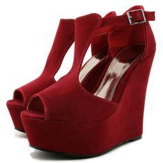 Wedge Heel Suede Heel Platform Ankle Buckle Shoes - Red