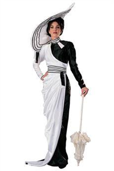 Disfraz blanco y negro, con motivo de Cruela de Vil