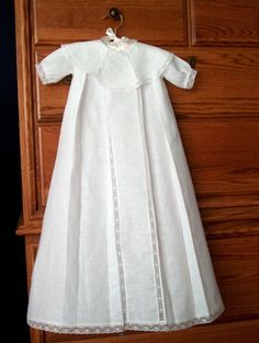 """I love heirloom sewing, and nothing is prettier than a pure white Christening Gown in Linen and Lace! I used 100% cotton linen to make this Christening Gown using the pattern called """"Boys..."""
