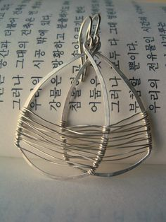 TimeAwaySale - Handmade Silver Earrings - WAVE, unique contemporary jewelry, ocean earth  triangle, maryandjane. $27.00, via Etsy.