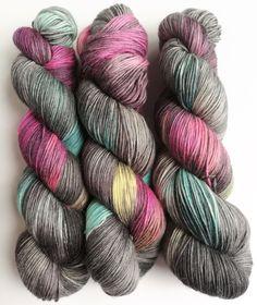 Hand dyed alpaca sock yarn, superwash merino/superfine alpaca/nylon sock weight fingering 4ply yarn.  Dream Dangerously, greys pink blue. by FeltFusion on Etsy
