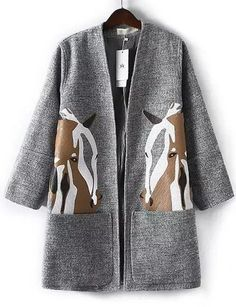 #fashion #accessories Winter Horse Printed Kangaroo Pocket Wool Coat in Gray   Gray by Moda Tendone - WoolCoat Clothes, Fashionable, Gray, Women, WoolCoat