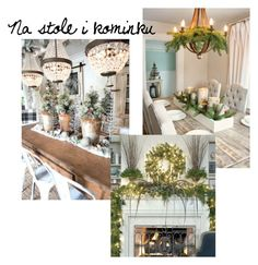 Na stole i kominku by agafrompoland on Polyvore featuring interior, interiors, interior design, dom, home decor and interior decorating