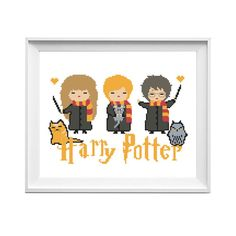 Cross Stitch Pattern Harry Potter Hermione Modern Movie PDF Instant download Cat Owl Animal Magic DIY Birthday Gift Embroidery Chart Counted