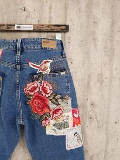 All SIZES High Waist Destroyed Boyfriend Jeans Distressed and Totally Patched Jeans Women's size 6 High Waisted Mom Jeans// all sizes Jean Rapiécé, Jean Diy, Winter Fashion Outfits, Denim Fashion, Boho Fashion, Redone Jeans, Polo Lacoste, Embroidered Mom Jeans, Patched Jeans