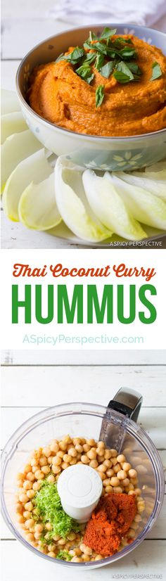 5-Ingredient Thai Coconut Curry Hummus on ASpicyPerspective.com #hummus #healthy #thai