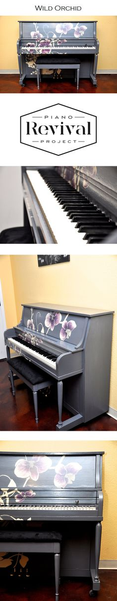 Hand painted studio upright by Piano Revival Project artist Heather. Paint Furniture, Furniture Makeover, Home Furniture, Piano Art, Piano Room, Piano Restoration, Used Piano, Painted Pianos, Piano Store
