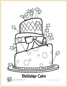 birthday cake free coloring page