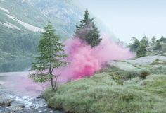 this is surely polution, but is it art? not sure, although if this was naturally colored sugar or a giant mass of cotton candy, Im sure the effect would be sustainable, rather than a chemical pigment bomb.