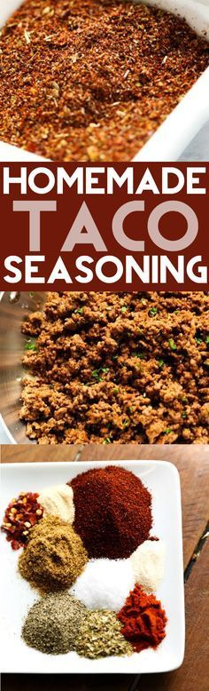 Homemade Taco Seasoning... A delicious blend of spices and seasonings that is perfect for one pound of ground beef. With cornstarch to thicken.