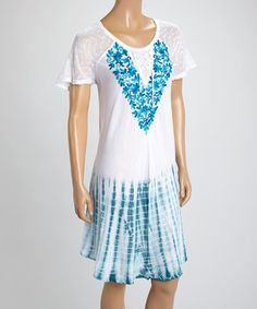 Loving this White & Blue Tie-Dye Embroidered Short-Sleeve Dress on #zulily! #zulilyfinds