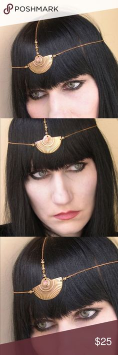 Art Deco Chain Headpiece Head chain Headdress This headpiece is made with a stunning combination of solid vintage brass center piece with matching delicate chains and a vintage glass faux fire opal. Fully adjustable with clasp and chain extension in back. Please NOTE: has natural tarnish and is more bronze and antique looking in person. Bought from Etsy for $67 and was handmade for a Cleopatra costume. Can we worn to music and art festivals like Coachella, or Burning Man or even every with a…