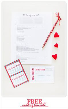 """Download Your Free Wedding Schedule.  Great and I particularly like the """"admission"""" ticket :)"""