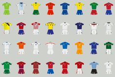 A History of FIFA World Cup Kits From the Last 84 Years: Courtesy of The Guardian, we have here the comprehensive and interactive guide of the participating World Cup Kits, World Cup 2014, Brazil World Cup, Fifa World Cup, Sports Advertising, Top Soccer, Russia 2018, Major League Soccer, Soccer News