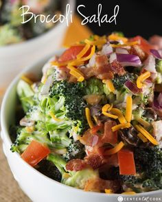 Fresh Broccoli Salad recipe with bacon and cheddar cheese! This Broccoli Salad is a classic summer side and comes together in minutes! It is perfect for summer BBQs and potlucks, or any night of the week.