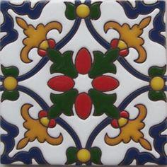 Handmade Relief Tile Yellow Fleur of Lis