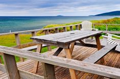 Inverness Beach Village - deck view of Seawolf Island (Margaree Island) Cabin Decks, Beach Village, Outdoor Tables, Outdoor Decor, Cape Breton, Inverness, Picnic Table, Outdoor Furniture, Island
