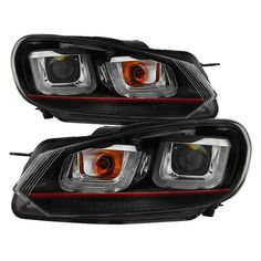 ( Spyder ) Volkswagen Golf / GTI 10-13 Version 3 Projector Headlights - Halogen Model Only ( Not Compatible With Xenon/HID Model ) - Dual U DRL - Black