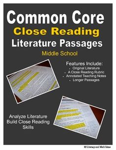(Middle School Close Reading Passages)  Seven Common Core Close reading passages are included.  Point of View RL.6, Inferring RL.1, Speaking and Listening, Writing, Language, and more standards are included. This document contains highlighted and annotated teaching notes, a close reading rubric and sample exemplars. $