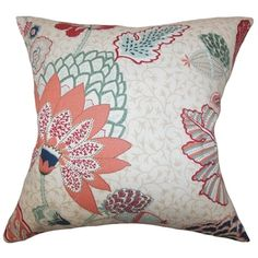 @Overstock - Ahna Floral Down Fill Throw Pillow Mint Red - Vibrant and pretty, this accent pillow is a must-have for your interiors. This accent pillow features a botanical-inspired pattern in shades of mint green, white, red, pink, blue and neutral.  http://www.overstock.com/Home-Garden/Ahna-Floral-Down-Fill-Throw-Pillow-Mint-Red/9033034/product.html?CID=214117 $43.19