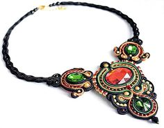 Wo.O / Royal soutache necklace, red+green+black+gold