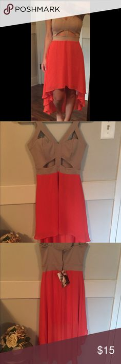 Dress Orange and taupe high low cut out dress. New with tags Dresses High Low