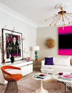 living-pink-Madrid-mod-living-room-brights-Planter-chair-Marilyn-Monroe-photograph-Saarinen-tables