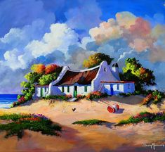 Landscape Artwork, Landscape Pictures, Bright Colors Art, South African Art, Cottage Art, Whimsical Art, Beautiful Paintings, House Painting, Urban Art