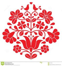 Vector Kalocsai Red Embroidery - Hungarian Floral Folk Pattern With .Kalocsai Red Embroidery - Hungarian Floral Folk Pattern With . Hungarian Embroidery, Folk Embroidery, Brazilian Embroidery, Learn Embroidery, Vintage Embroidery, Mexican Embroidery, Chain Stitch Embroidery, Embroidery Stitches, Embroidery Patterns