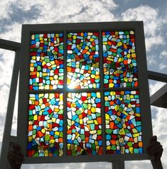 """Stained Glass Mosaic Repurposed Old Window """"Confetti"""""""