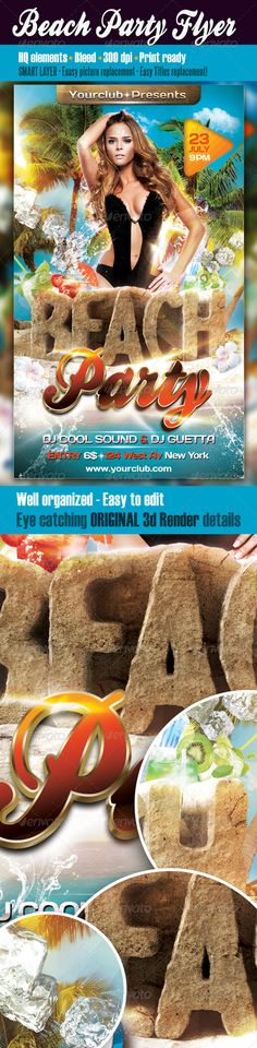 Buy Beach Party Flyer Template by cleanstroke on GraphicRiver. Beach Party Flyer Template Elegant and unique Summer – Beach party flyer. Suitable for Clubs, Bars or Concert events…. Free Flyer Templates, Print Templates, Summer Beach Party, Flyer Printing, Festival Camping, Party Flyer, Party Party, Simple Pictures, Club Parties