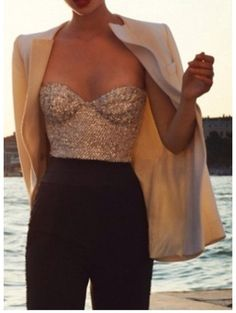 Get this tank top on @Wheretoget or see more #blouse #gold_sequins #corset_top #gold #sequin_bouse #tank_top