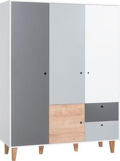 Cechy i korzyści: Szafa 3d z kolekcji Concept by Vox to bardzo pojemna bryła, która pomieści niejedną garderobę. W jej wnętrzu znajduje się miejsce na ubrania złożone, wiszące oraz bieliznę. W lewej ...