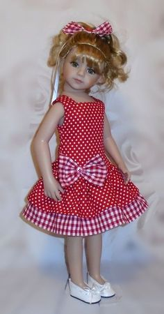 dress hair bow for Dianna Effner Maru friends 20 doll By Vintagebaby Sewing Doll Clothes, American Doll Clothes, Girl Doll Clothes, Doll Clothes Patterns, Kids Frocks, Fashion Kids, Fashion Dolls, Little Girl Dresses, Doll Costume