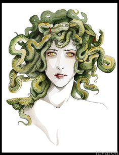 I chose this artwork because it shows how Medusa seems scared and afraid. She was once kind and beautiful until she was raped and I think this shows her fear on the inside. Medusa Hair, Medusa Gorgon, Medusa Tattoo, Greek Creatures, Fantasy Creatures, Poseidon Tattoo, Rome Antique, Snake Art, Beautiful Snakes