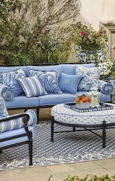 Gorgeous blue and white room outside