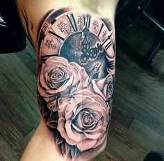 Stunning Clock Tattoo Designs, Ideas For Your Good Time Rose Tattoos For Women, Tattoos For Women Half Sleeve, Tattoo Designs For Women, Tattoos For Guys, Pocket Watch Tattoos, Trendy Tattoos, Cool Tattoos, Clock And Rose Tattoo, Tattoo Homme