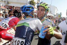 Vuelta a España 2014 - Stage 3: Cádiz - Arcos de la Frontera 197.8km - Orica-GreenEdge teammate congratulates Michael Matthew's on his win