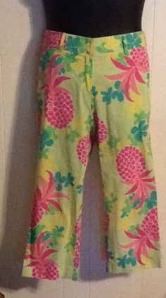 LILLY PULITZER CROPPED CAPRI PANTS WOMAN SIZE 4 pineapple pink greens designers