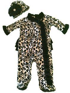 MUD PIE Baby infant girls Damask sleeper pajama w/ hat Size 6 - 9 months Mudpie…