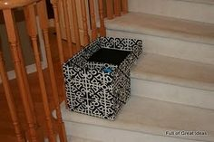 DIY stair basket made from a cardboard box & fabric