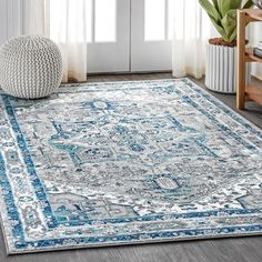 Charlton Home Lazaro Modern Persian Vintage Medallion Light Grey/Blue Area Rug Rug Size: Rectangle x Colorful Rugs, Online Home Decor Stores, Turkey Colors, Rugs, Light Grey Area Rug, Vintage Medallion, Home Decor, Floor Coverings, Area Rugs