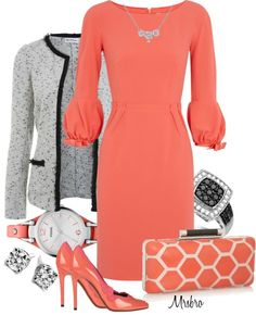 """Coral with a Clutch"" by mrsbro on Polyvore"