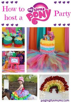 How to host a My Little Pony Party. The ultimate place for everything you'll need to know to host your own spectacular MLP Party! My Little Pony Cake, My Little Pony Birthday Party, 5th Birthday Party Ideas, Birthday Fun, Birthday Cakes, Rainbow Dash Party, Rainbow Birthday, Raimbow Dash, Baby