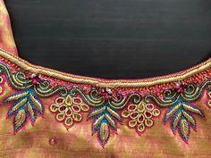 Best Blouse Designs, Saree Blouse Neck Designs, Simple Blouse Designs, Embroidery Neck Designs, Hand Work Embroidery, Designer Blouses Online, Hand Work Blouse Design, Churidar, Designer Wear