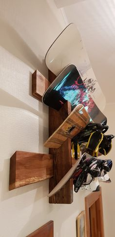 Snowboard rack from reclaimed rustic wood. www.rewood.lv Wanna see more snowboards stuff? Just tap visit buttons! #snowboard #mountains