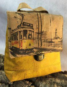 Backpack Electrico Lisboa Cork, Reusable Tote Bags, Backpacks, Unique, Lisbon, Women's Backpack, Backpack, Backpacking