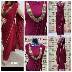 We love the dreamy combination of saree & gown. This combination create a traditional and classical look. Maroon is a great color for a dress that you could combine with both your saree and gown! New Black Color, Maroon Color, Stylish Gown, Kurti Styles, Saree Gown, Ethnic Dress, Beautiful Gowns, Beautiful Gorgeous, Western Dresses